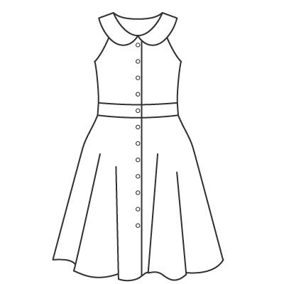 基本料金:そでなしデザインワンピースデザイン例 オーダーメイドの洋服屋さん SU MISURA ス・ミズーラ